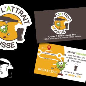 Création de logo & cartes de visite pour L'Attrait Mousse, cave à bière