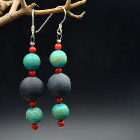 Boucles d'oreilles | Ardoise, turquoise, corail